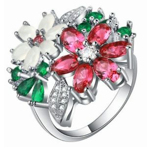 Multi stone flower ring sterling silver